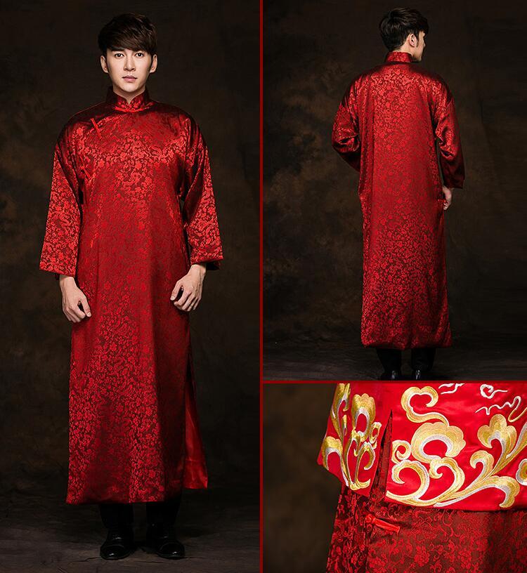 黄晓明结婚礼服古典中式婚礼长袍马褂中式礼服