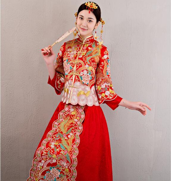 中国风龙凤褂刺绣礼服中式婚礼礼服