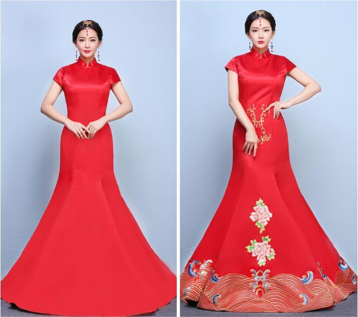 刺绣桃花秀禾服新娘礼服中式婚礼礼服