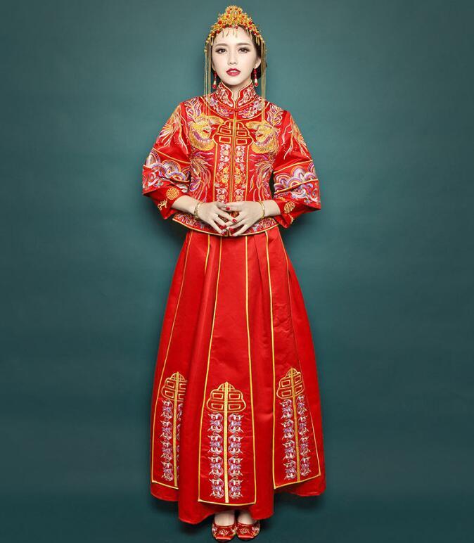 中国风秀禾服刺绣裙褂中式礼服