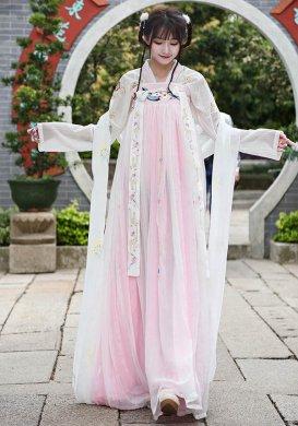 汉服  绣花披帛对襟上衣双层齐