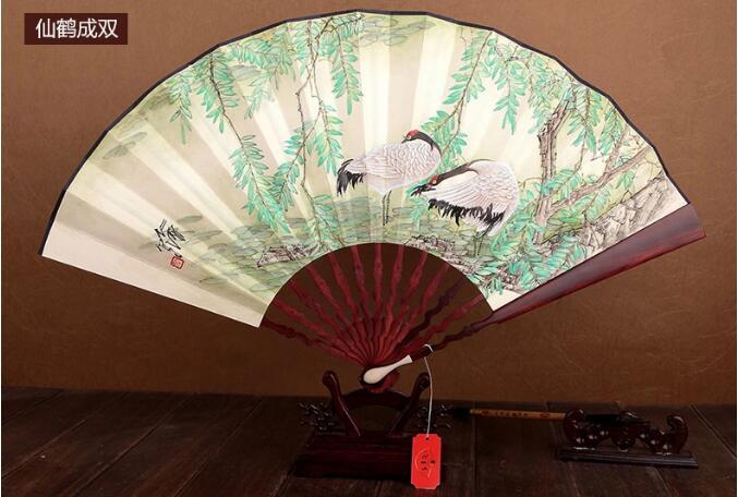 中国风红木手绘折扇图片
