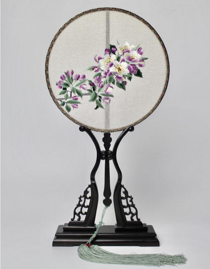 中国风双面手绣海棠花团扇