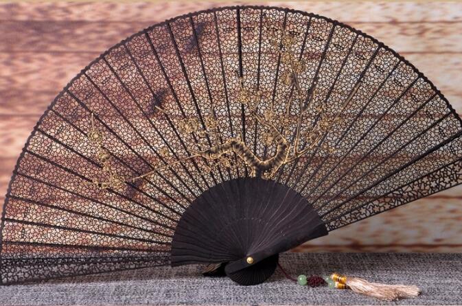 中国风乌木扇雕刻拉花折扇