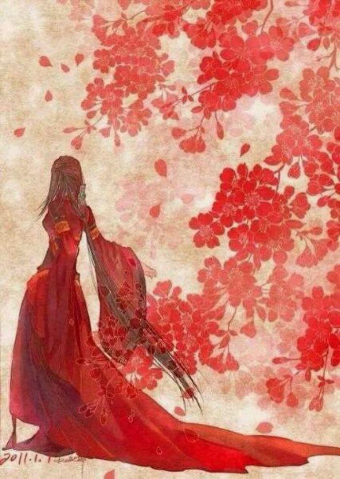 古风图片,红衣女子的背影古风大图