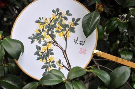 汉文化汉服配饰国画桂花绢面团