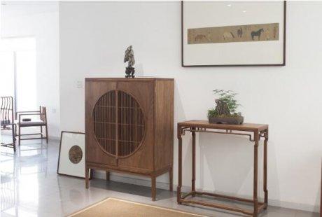 黑胡桃家具璞木禅意中式柜子。