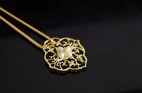 天然淡水珍珠黄铜发钗发簪簪子