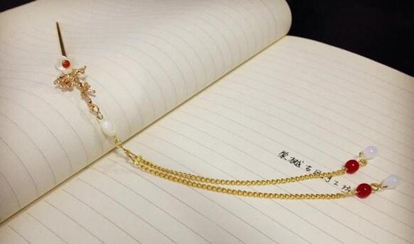铜镀金树枝贝壳花古典中国风流苏简约簪
