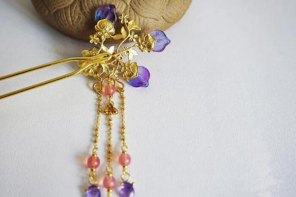 中国古风头饰琉璃流苏步摇黄铜发簪子