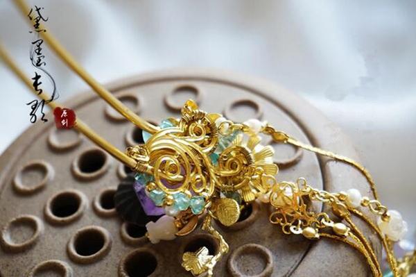 紫水晶白蝶贝长流苏发簪簪子 中国古风头饰