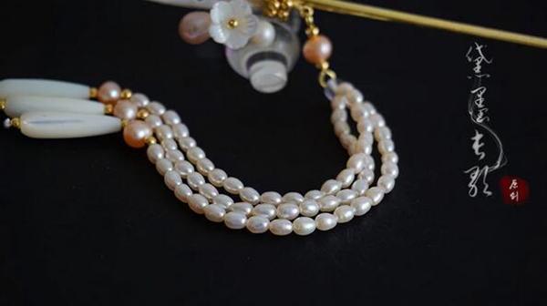 天然淡水珍珠贝壳步摇黄铜发簪子