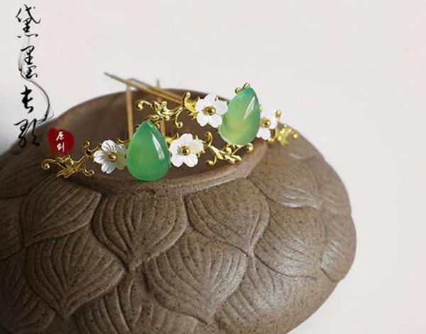 玛瑙贝壳花黄铜小发簪钗子