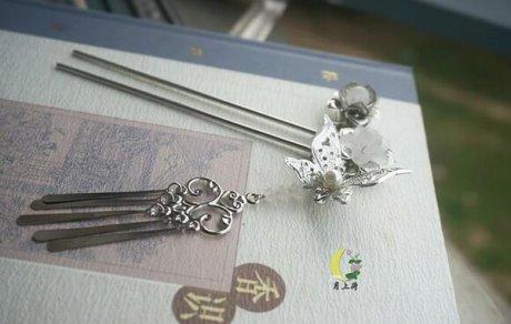 古风头饰发簪铁质银色蝴