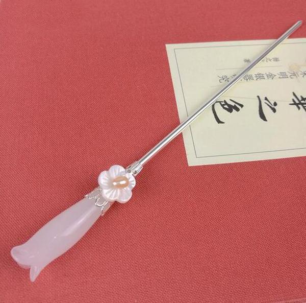 木兰簪子 白玉琉璃发簪头饰