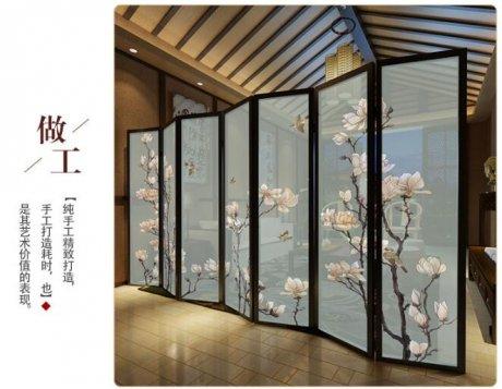 新中式半透实木玉兰花鸟折屏屏