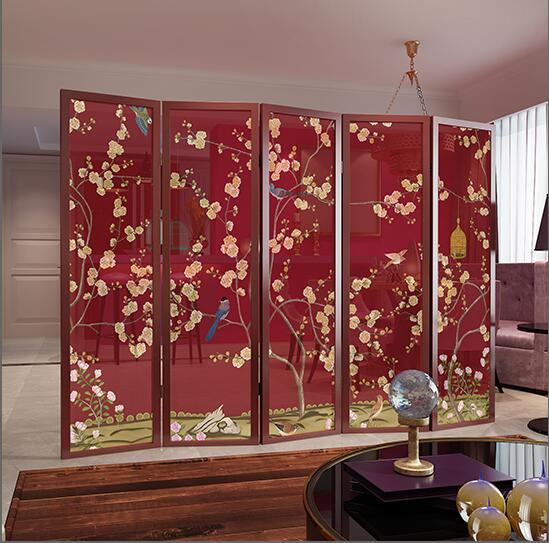 中式折叠屏风实木半透花鸟屏风