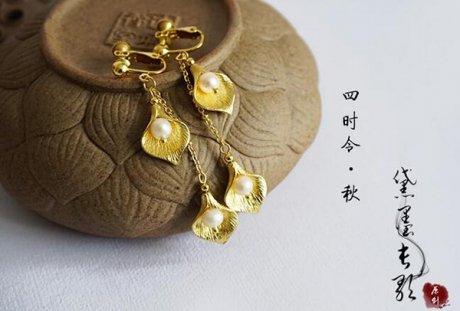 黛墨长歌 珍珠黄铜耳饰