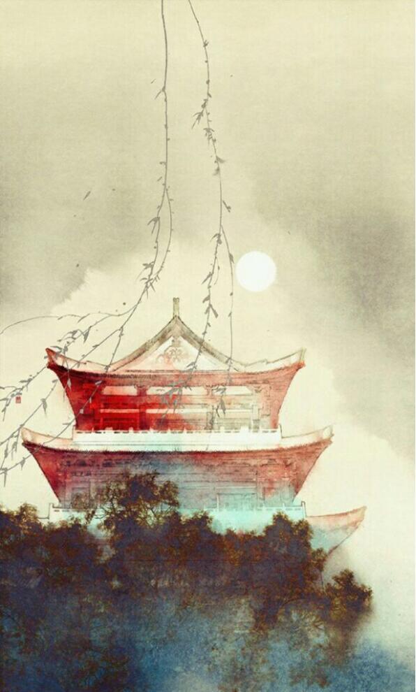 绘本中的亭台楼阁古风插画图片