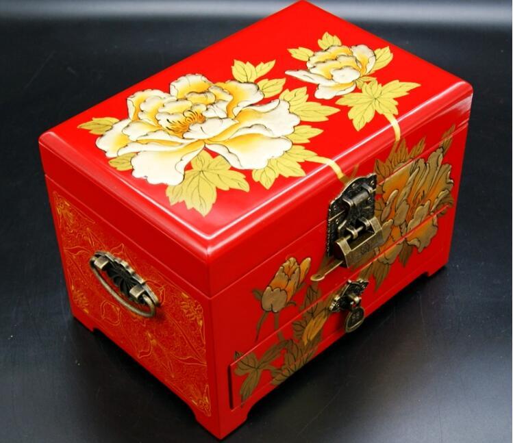 三层木质结婚礼品首饰盒漆器