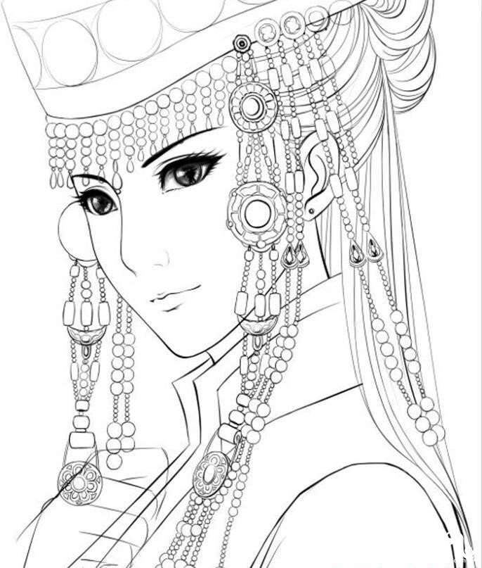 清新可人的唯美古风女子手绘插画图片
