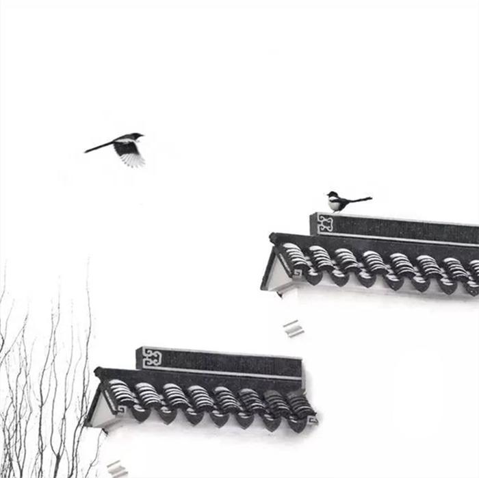 黑瓦白墙的徽派建筑