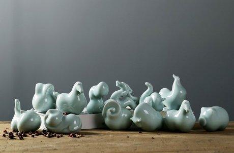 极简抽象化十二生肖陶瓷工艺品