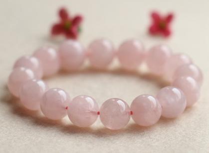 甜美天然芙蓉粉水晶手链