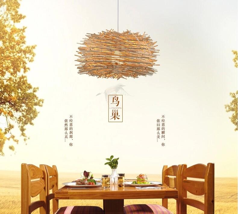 竹编艺术创意鸟巢吊灯