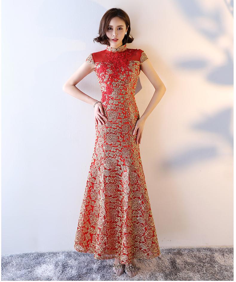 性感蕾丝的鱼尾修身版中式礼服