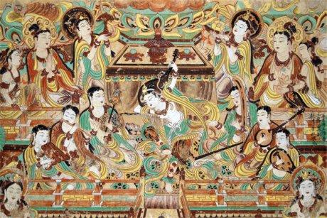 敦煌莫高窟石壁彩绘壁画