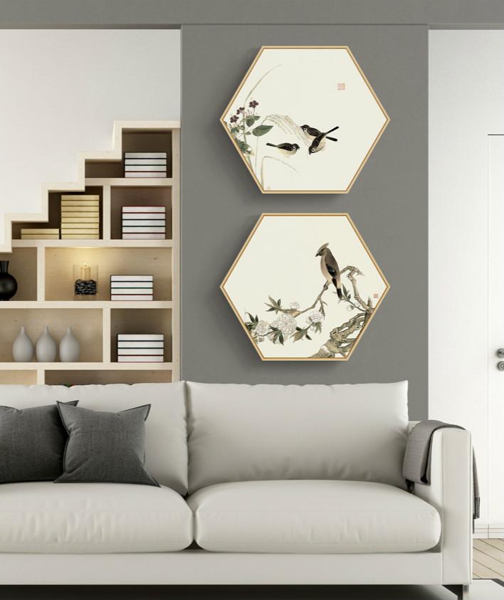 中式禅意创意六边形装饰画