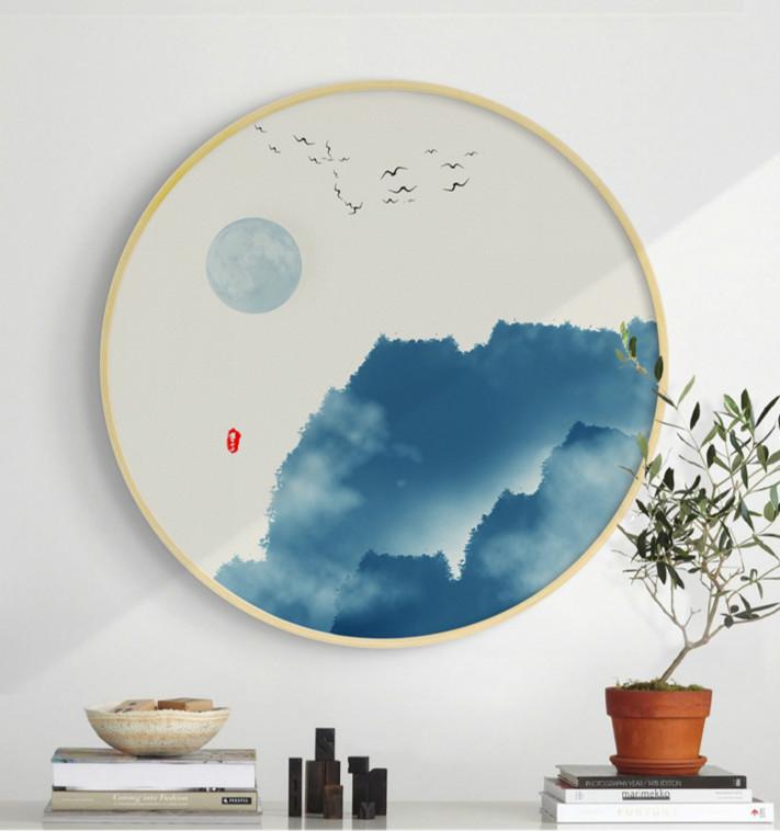中式禅意创意圆形山水有情水墨装饰画