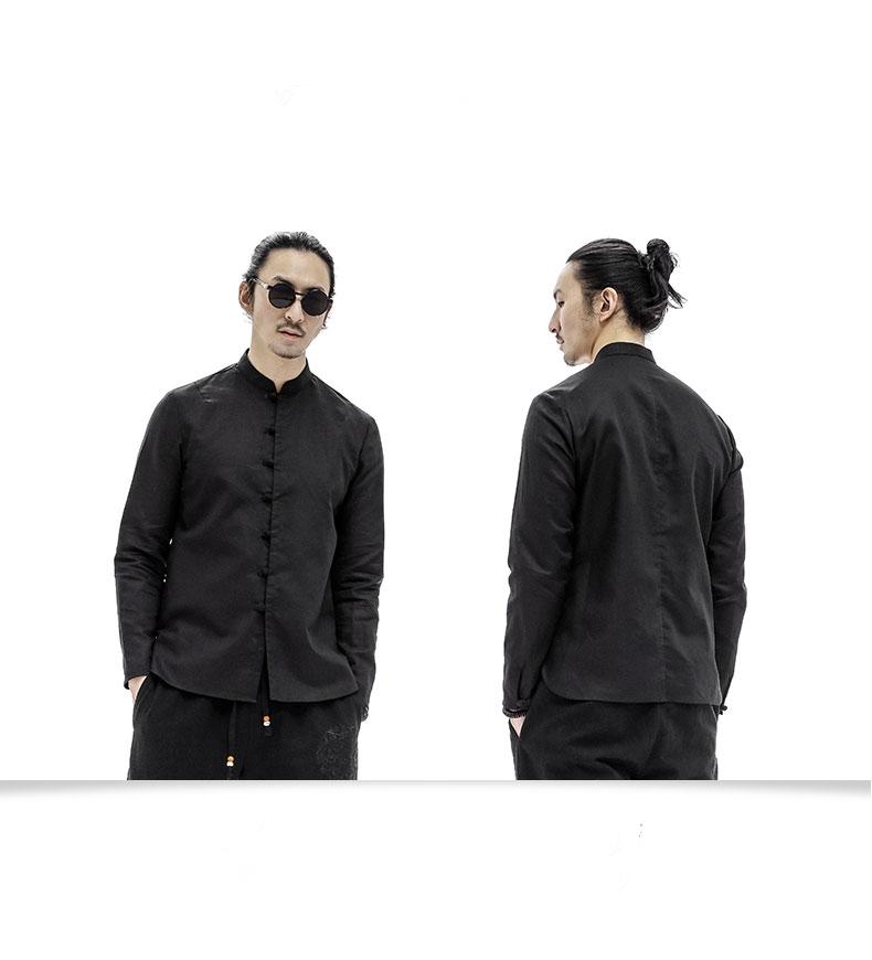中式服装唐装盘扣麻料青年长袖