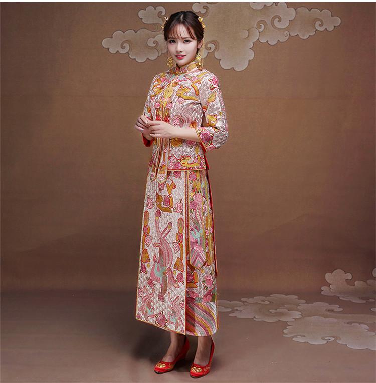 中式新娘礼服龙凤褂旗袍嫁衣