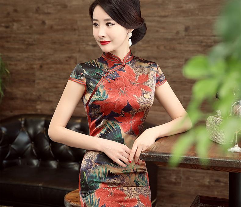 中式旗袍印花桑蚕丝礼服