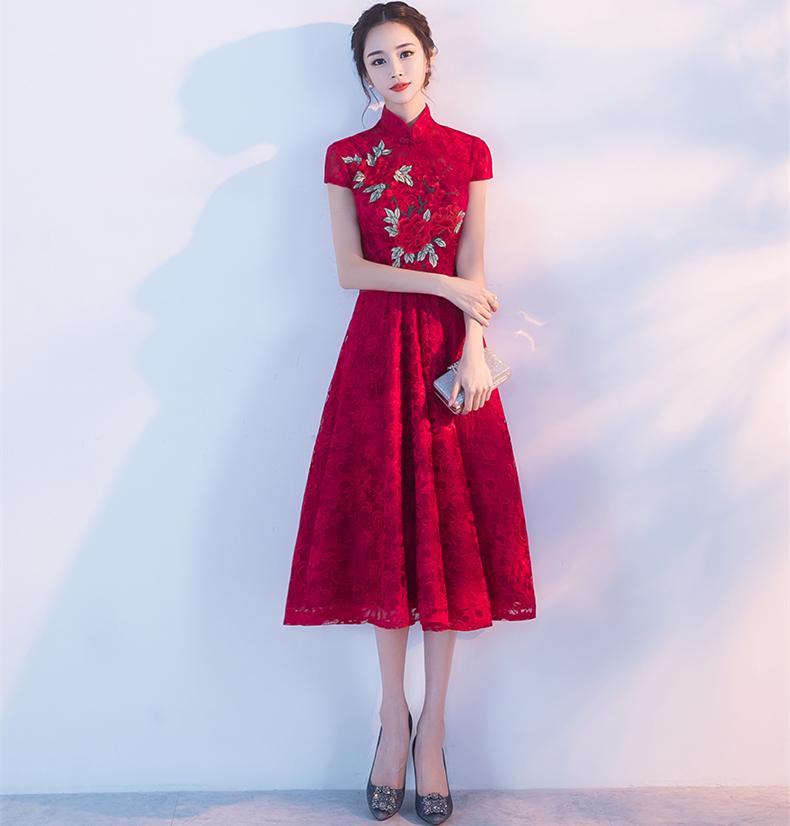 夏季酒红色立领旗袍中式结婚礼服