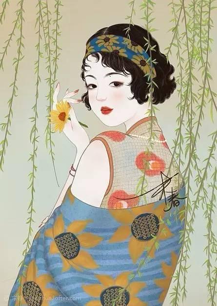 独特中国美,最美插画,肤如凝脂珠圆玉润民国