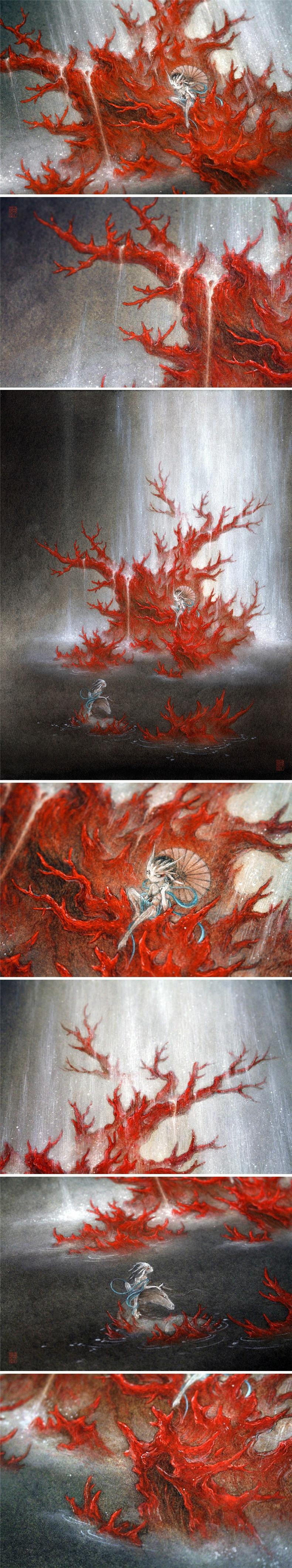 杉泽《天瀑.海童》中国风插画欣赏
