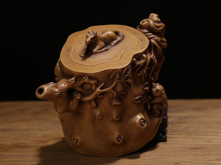 清代名家陈鸣远纯手工制作紫砂老茶壶