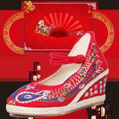 坡跟系带绣花鞋,中式婚鞋