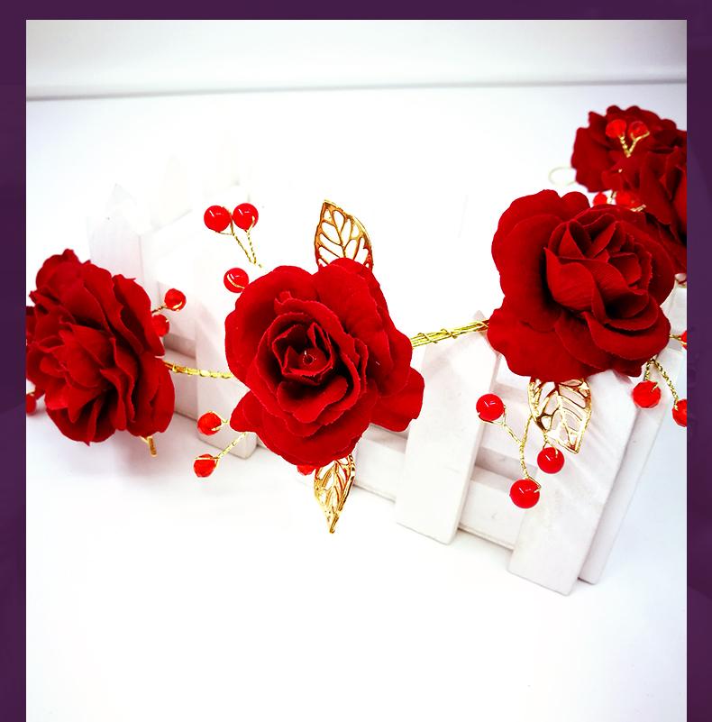 红色玫瑰花新娘头饰