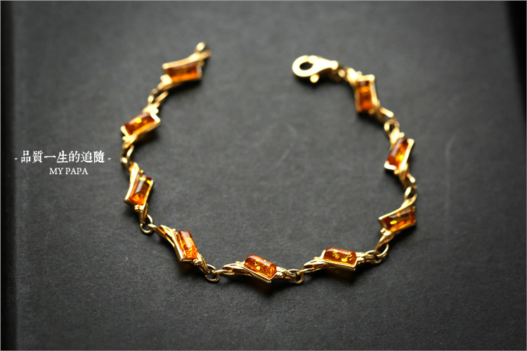 手工定制天然琥珀花珀配银手链