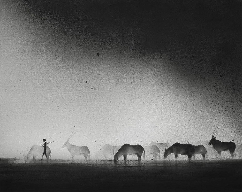 黑白水彩手绘装饰画,孩子与野兽