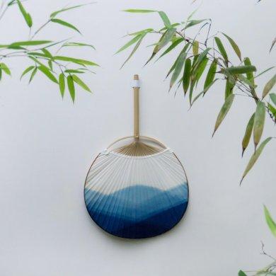 蓝染中国风团扇,古风古典中式