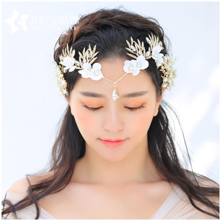 中国风新娘结婚花朵水钻头饰额饰