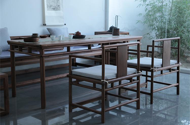 新中式禅意老榆木圈椅实
