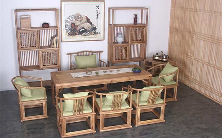 老榆木简约免漆新中式茶桌椅组