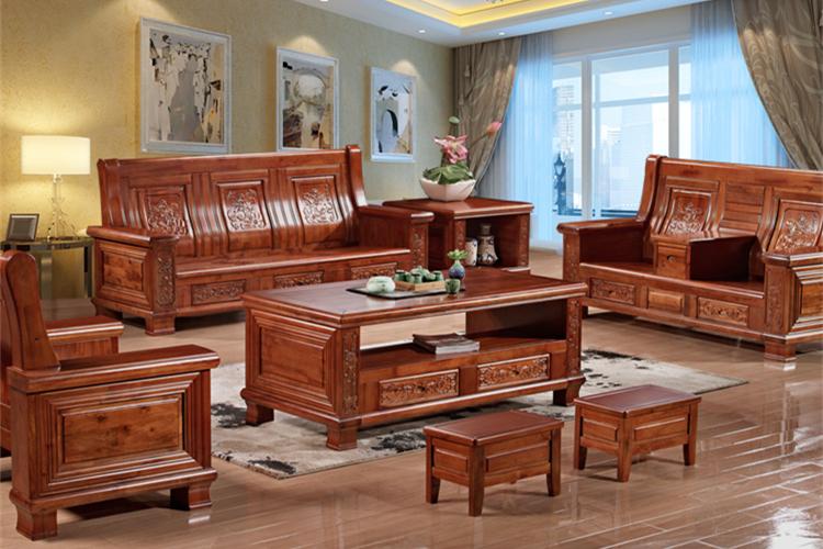现代中式客厅实木沙发组合香樟