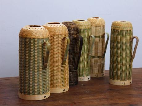 手工编织复古竹编暖水壶工艺品